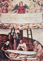 This remarkable interpretation of the Shroud by GB Della Rovere contains an error : in his representation of the crossing of the hands the right hand is above the left, whereas in fact, it is the contrary. This demonstrates the permanent difficulty we have in lateralising the image of the Shroud correctly... Note also that he could not refrain from showing a loincloth when it is evident that the body is naked. (12349 bytes)