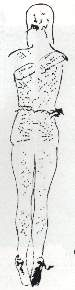 Back view of the body of the victim. The ravages caused by flogging are perfectly understandable here. The garment which the condemned man was covered with afterwards must have stuck to the assorted wounds. When it was pulled off again, it off must have been painful. (5350 bytes)