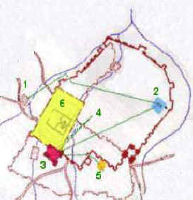 Plan of Jerusalem showing the routes followed by Jesus during the night of Thursday 13 to Friday 14th ( probably of the year 30.) From the Mount of Olives (1), he was brought before Annas, then Caiaphas (2) whose palaces were next to each other. At dawn, he was brought before Pilate, probably in the Antonia fortress (3) then escorted to Herod's (4) who returned him to Pilate (3). After being flogged there, he was led to Golgotha (5) to be crucified. (18522 bytes)